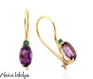Enchanting Amethyst and Emerald Earrings