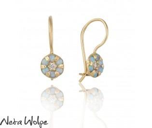 Gem Cluster Earrings Yellow Gold