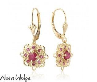 Oriental Ruby Hanging Earrings