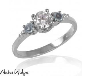 Diamond and Aquamarine Trio Ring