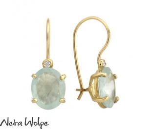 Gold Aquamarine and Diamonds Earrings