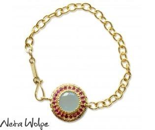 Aquamarine & Ruby Halo Link Bracelet