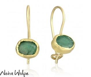 Rustic Yellow Gold Emerald Earrings
