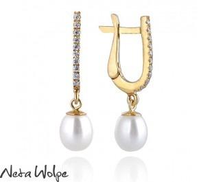 Pearl Diamond Bar Drop Earrings