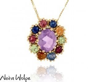 Multi-Colored Gemstone Pendant Necklace