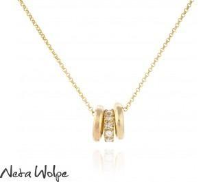 3 Ring Diamond Pendant Necklace