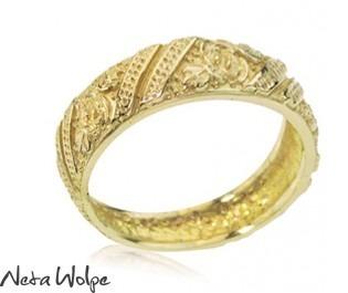 Yellow Gold Art Nouveau Floral Wedding Band