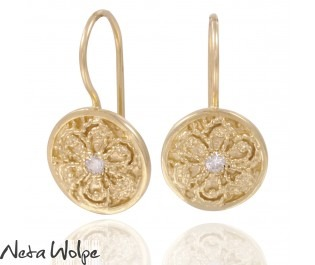 Vintage Style Diamond Engraved Drop Earrings