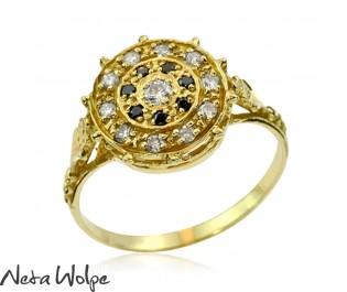 Yellow Gold Art Nouveau Black Diamond Ring