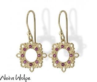 Enchanting Filigree Ruby Earrings