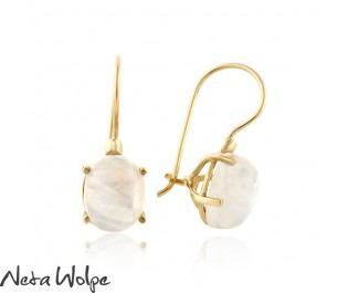 Moonstone Gold Drop Earrings