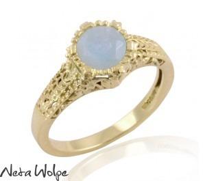 Engraved Round Aquamarine Ring