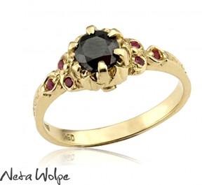 Angelina Art Nouveau Black Diamond 14k Ring