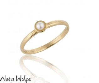 Minimalist Pearl Gold Ring