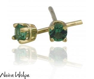 Yellow Gold Emerald Stud Earrings