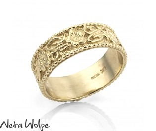Wide Floral Engraved Gold Wedding Band