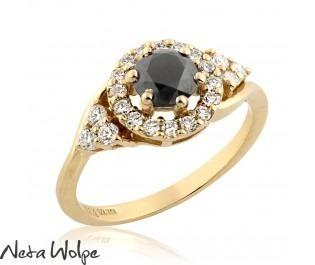 Art Deco Floating Halo Gold Diamond Engagement Ring, BIG