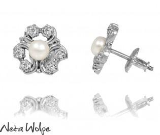 White Gold Vintage Bridal Earrings