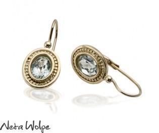 Victorian Style Blue Topaz Earrings