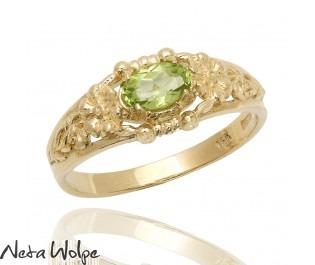 Peridot Floral Ring