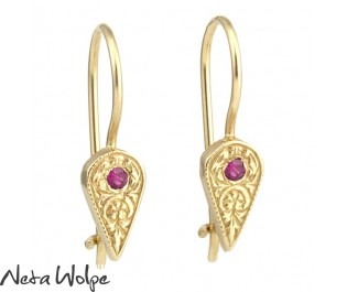 Hand Engraved Ruby Drop Earrings