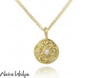 Yellow Gold Vintage Style Diamond Engraved Drop Pendant