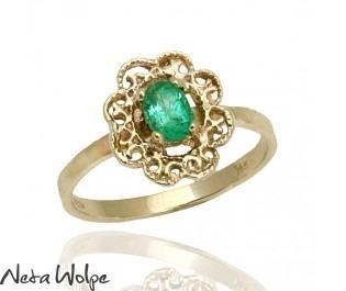 Solid Gold Filigree Emerald Ring