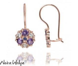 Flower Inspired Multiple Stones Rose Gold Earrings