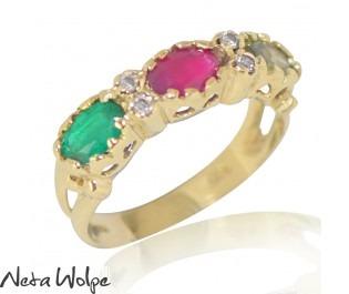 Multi Stone Crown Ring Yellow Gold