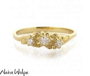 Petite Floral Nouveau Ring Yellow Gold