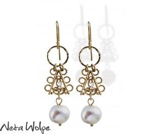 Oriental Style Gold Pearl Earrings