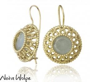 Yellow gold and Aquamarine earrings