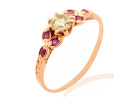 Rose Gold Art Nouveau Diamond and Ruby Engagement Ring