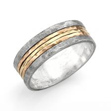 Men's Three Metals Spinner Band in Sterling Silver and Rose/Yellow Gold