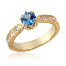 Blue Topaz Pave Engagement Ring