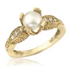 Antique Style White Pearl 14k Engagement Ring