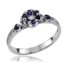 Floral Sapphire Cluster Ring
