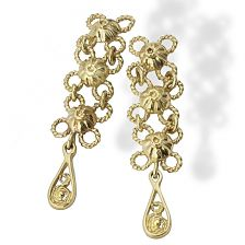 Bride Floral Filigree Earrings  in Yellow Gold