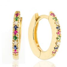 Pave Gemstones Hoops Yellow Gold