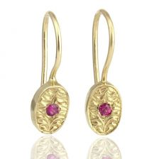 Hand Engraved Oval Ruby Yellow Gold Drop Earrings