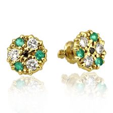 Victorian Style Emerald and Diamond Stud Earrings In Yellow Gold