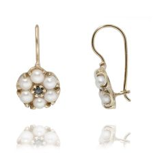 Sapphire and Pearl Gold Flower Earrings