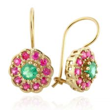 Colorful Yellow Gold Gemstone Halo Drop Earrings