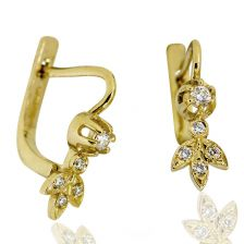 Sparkling Antique Style Diamond Earrings 14k Yellow Gold