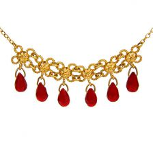 Exquisite Flower and Ruby Gold Necklace
