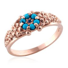 Antique Style Turquoise Ring with Sapphire