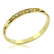 Yellow Gold Sparkling Diamond Channel Set Hammered Band