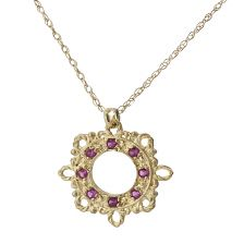 Gold Filigree Ruby Pendant Necklace