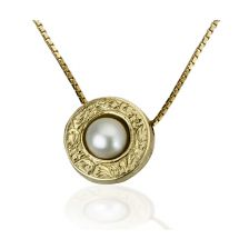 Engraved Yellow Gold Pearl Slide Pendant