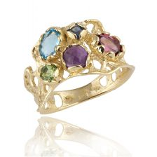 Multi Color Gemstone Rings Yellow Gold